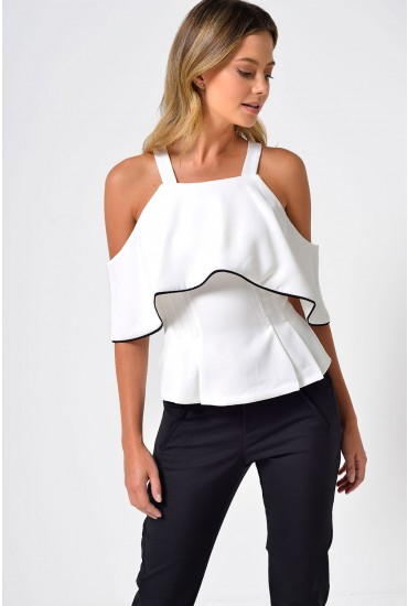 Louisa Off Shoulder Piping Corset Top in White