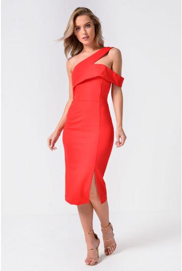 Lavish Alice One Shoulder Detail Midi Dress in Red