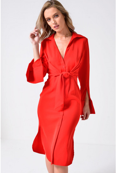 Lavish Alice Tie Front Shirt Dress in Red