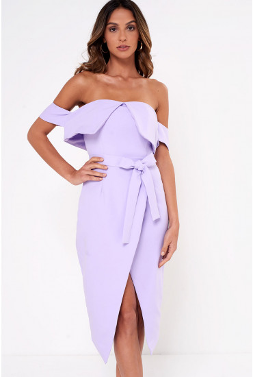 Lavish Alice Bardot Wrap Midi Dress in Lilac