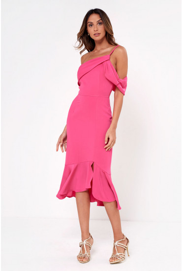 Lavish Alice One Shoulder Midi Dress in Bright Pink