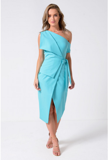 Lavish Alice One Cold Shoulder Midi Wrap Dress in Mint