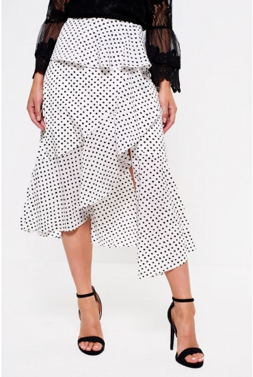 Lavish Alice High Waist Midi Skirt in Polka Dot