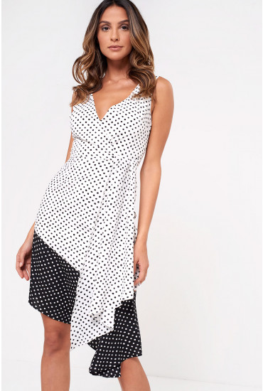 Lavish Alice Flounce Hem Dress in Polka Dot