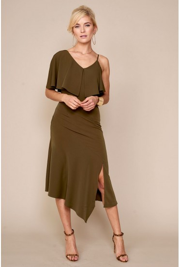 Lavish Alice Off Shoulder Dress in Khaki
