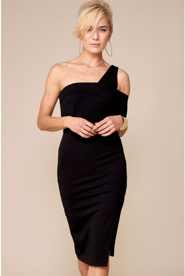 Lavish Alice One Shoulder Midi Dress in Black