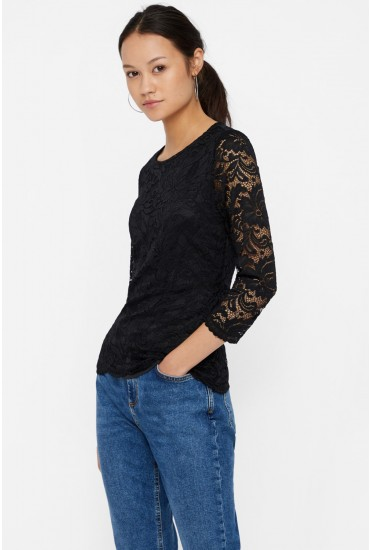 Sandra 3/4 Sleeve Lace Top in Black