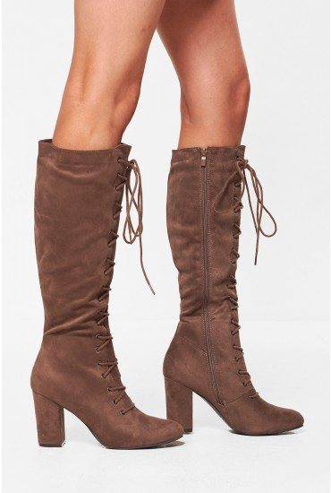 Amanda Lace Up Knee High Boots in Taupe
