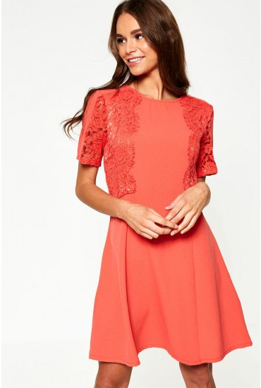 Harper Lace Detail A-Line Dress in Coral