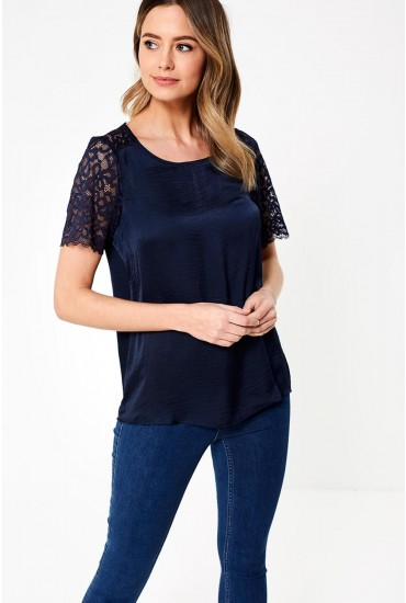 Appa Lace Detailed Top in Navy