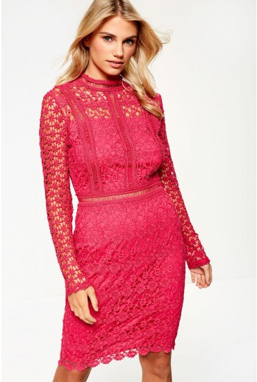 Giuliana Long Sleeve Lace Dress in Pink