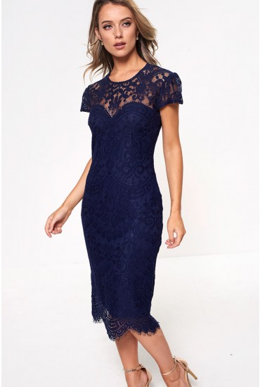 Gene Lace Occasion Dress in Navy