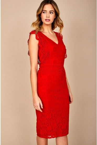 Nikki Lace Occasion Dress in Red