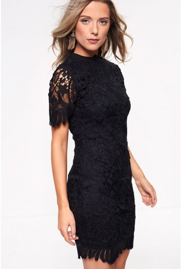 Noah Lace Pencil Dress in Black
