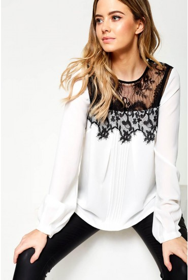 Hailey Lace Top Blouse in White