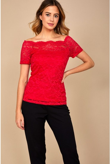 Milana Lace Top in Red
