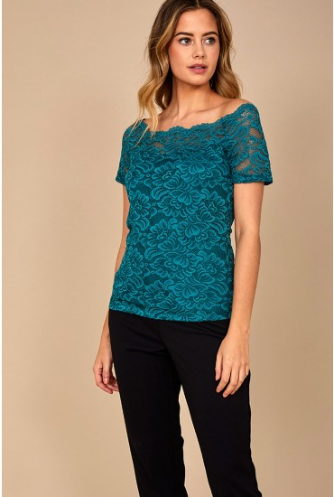 Milana Lace Top in Teal