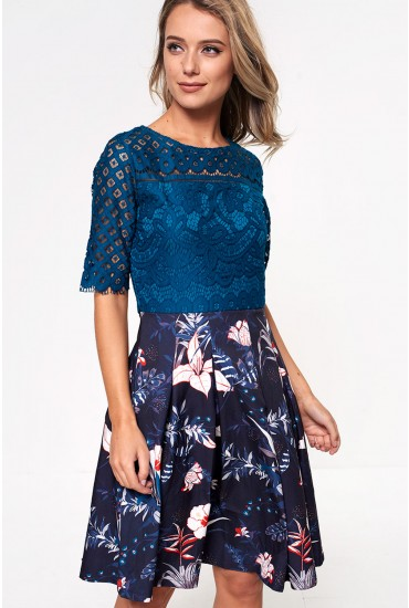 Trish Lace Top Skater Dress in Teal