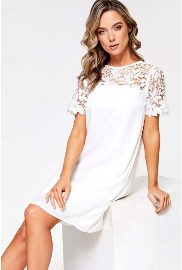 Melli Lace Top Tunic Dress in White
