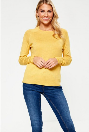 Mila Lacy Pullover in Yellow