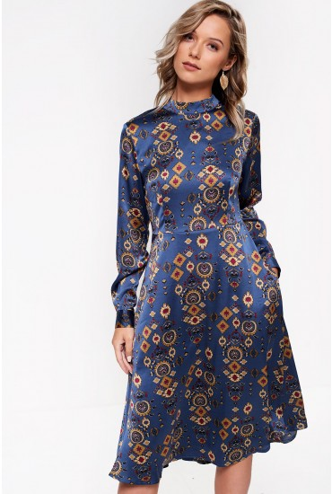 Laurie High Neck Printed Midi Dress in Blue