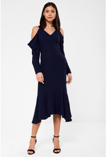 Lavish Alice Cold Shoulder Midi Dress in Navy