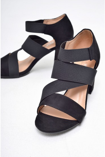 Jenson Strappy Heeled Sandals in Black