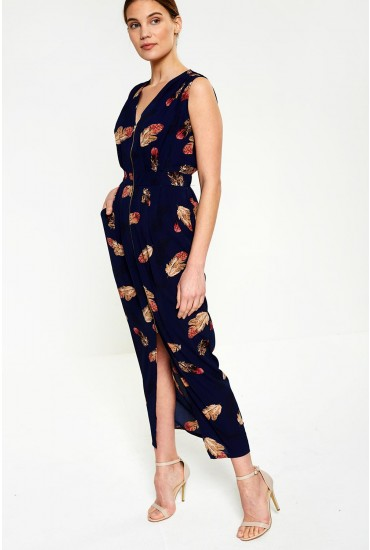 Elaine Leaf Print Midi in Navy