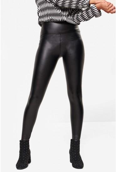 Hana High Waist Fleece Lined Wet Look Leggings in Black
