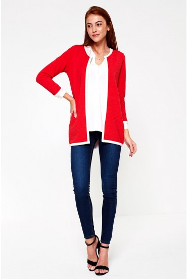 Leco Rib Cardigan in Red