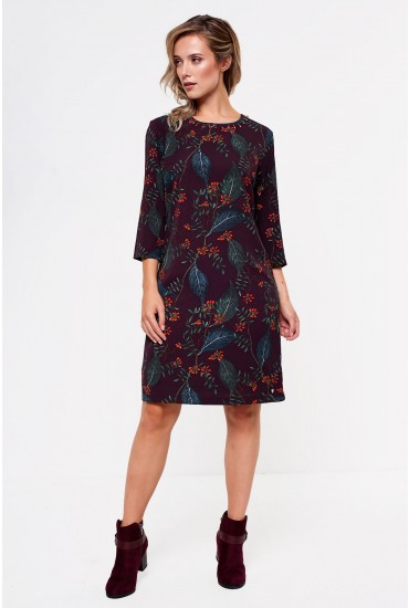 Leona Embellished and Print Tunic in Wine