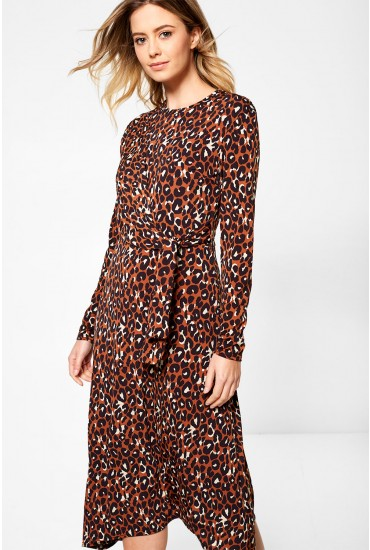 Maria Long Sleeve Leopard Print Dress With Tie Side Detail