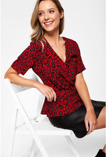 Raine Leopard Print V Neck Top in Red