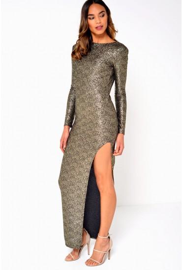 Lexi Metallic Maxi Dress in Gold