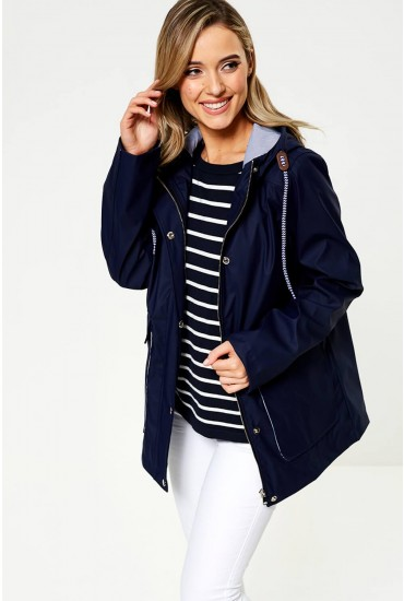 Lilly Stripe Lined Raincoat in Navy