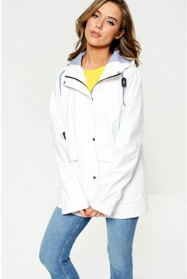 Lilly Stripe Lined Raincoat in White