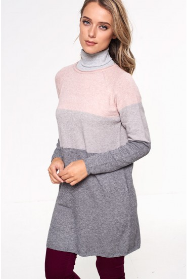 Lily Long Sleeve Knit Dress in Grey