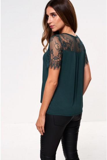 Linda Short Sleeve Top with Lace Detail in Green