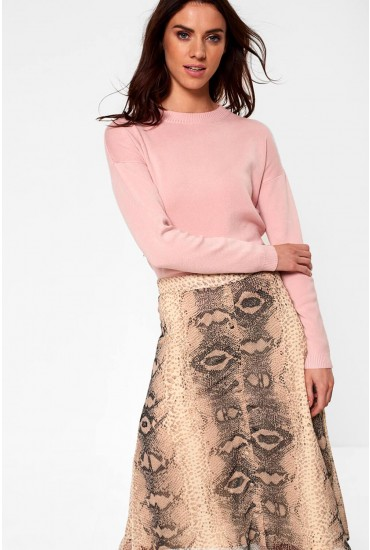 Lisa Long Sleeve Knit Jumper in Blush