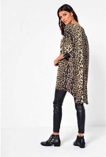 Saskia Animal Print Oversized Top