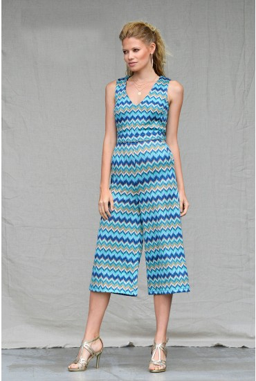 Donna Woven Culotte Jumpsuit in Blue