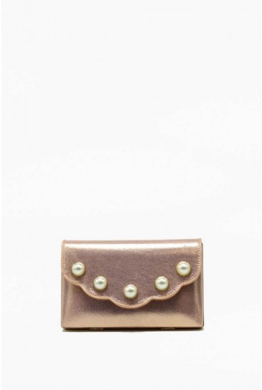Lizzie Pearl Embellished Clutch Bag in Rose Gold