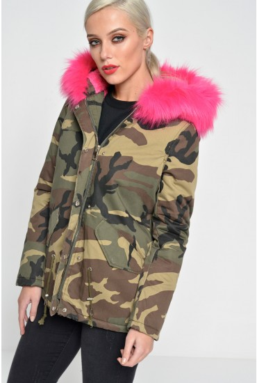 Polly Camouflage Fur Trim Jacket in Cerise