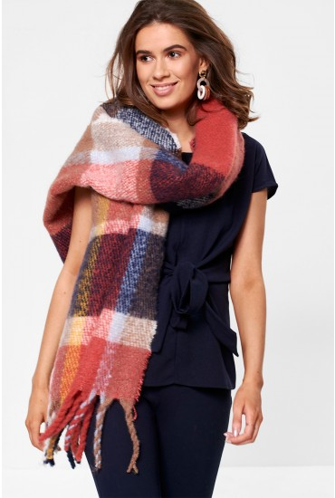 Fran Long Check Scarf with Tassle Trim
