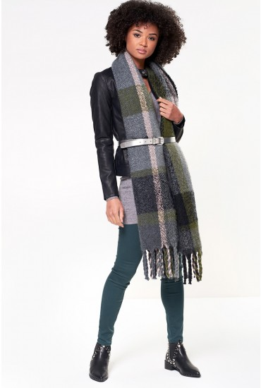 Fran Long Check Scarf with Tassle Trim in Green