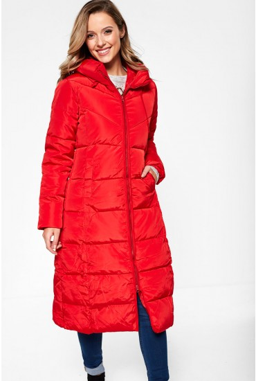 Paige Long Padded Jacket in Red