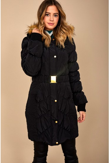 Shanice Long Padded Jacket in Black