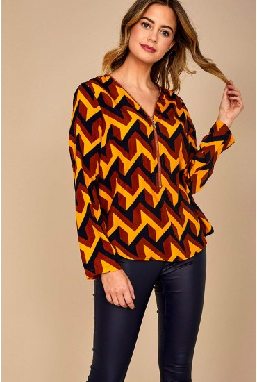 Yvonne Long Sleeve Top with Zip Front Detail in Mustard