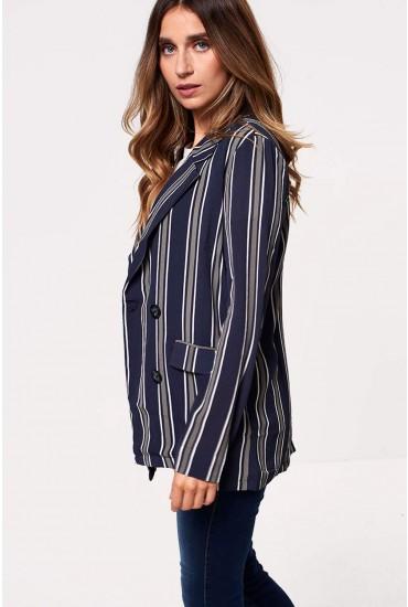 Trick Long Sleeve Blazer in Navy Stripe