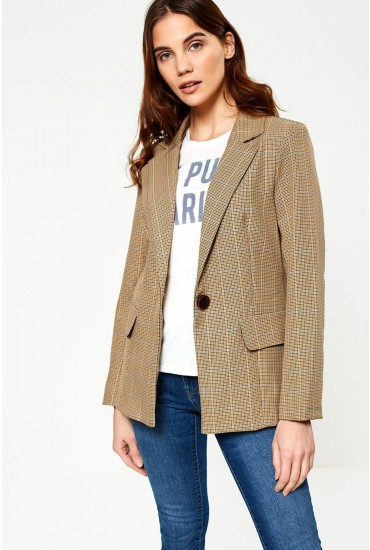 Grainne Long Sleeve Blazer in Check Print